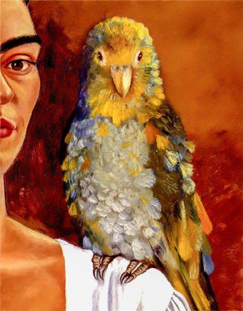 Frida & Colorful Bird resim