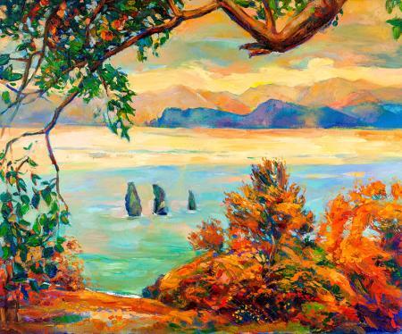 Göl Kenarında Gün Batımı resim