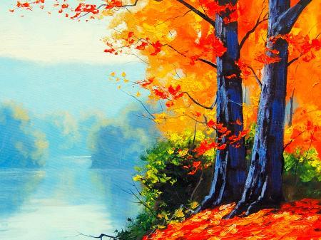Göl Kenarındaki Ağaçlar resim