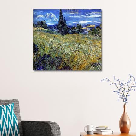 Green Wheat Field with Cypress resim2