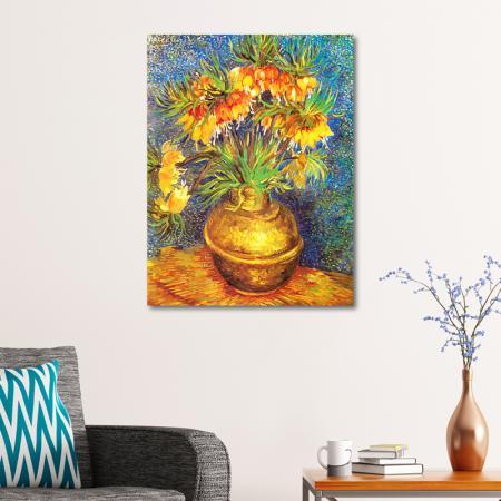 Imperial Fritillaries in a Copper Vase resim2