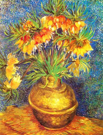 Imperial Fritillaries in a Copper Vase resim