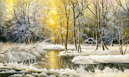 Karlı Orman ve Günbatımı resim