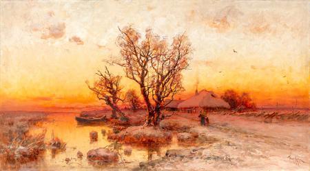 Kışın Günbatımı resim