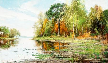 Lakeside Landspace in Autumn resim