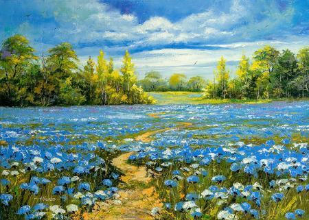 Mavi Çiçekler resim