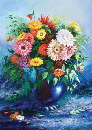Mavi Vazoda Çiçekler resim
