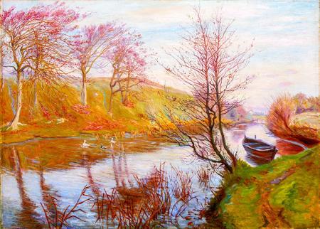 Nehir Kenarında Sonbahar resim