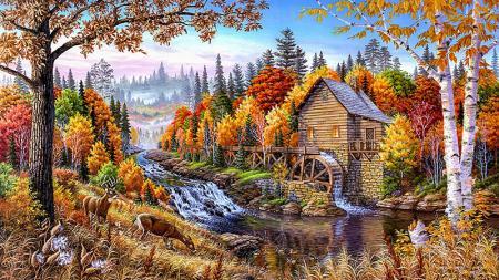 Orman ve Su Değirmeni resim