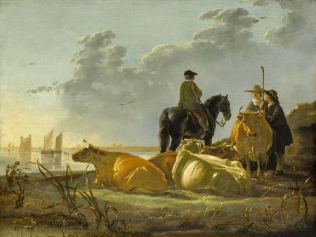 Peasants and Cattle by the River Merwede resim