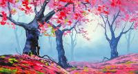 Pembe Soyut Ağaçlar - DM-C-101