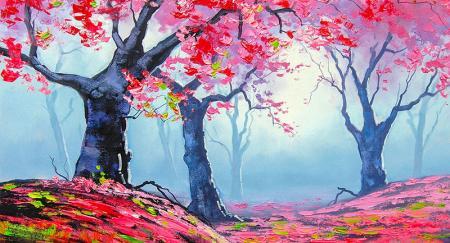 Pembe Soyut Ağaçlar resim