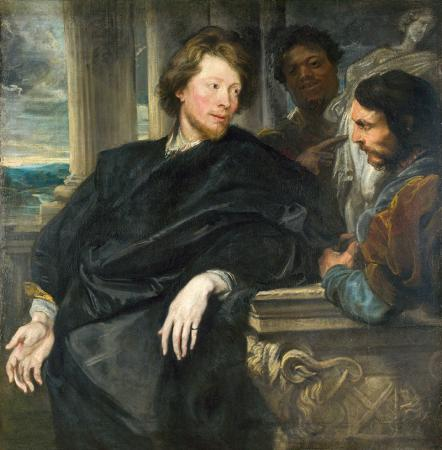 Portrait of George Gage with Two Attendants resim