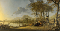 River Landscape with Horseman and Peasants - UR-C-038