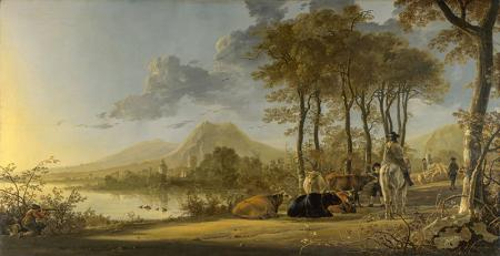 River Landscape with Horseman and Peasants resim