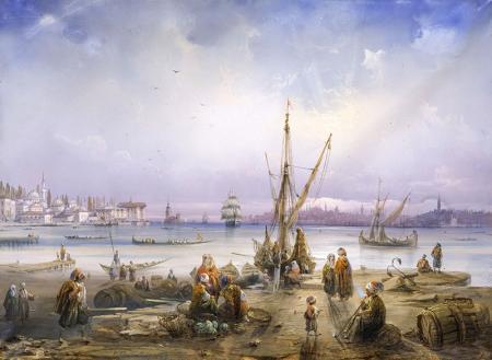 Sahildeki  Osmanlı Halkı resim