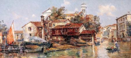 San Trovasi Venedig'de Gondelwerft'ten görünüm. resim
