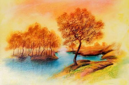 Sonbahar Ağaçları ve Mavi Göl resim