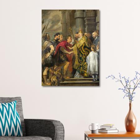 St Ambrose barring Theodosius resim2