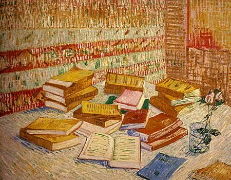 Still Life with French Novels and a Rose resim