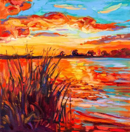 Sunset Over Lake resim