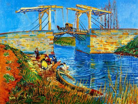 The Langlois Bridge at Arles with Women Washing resim
