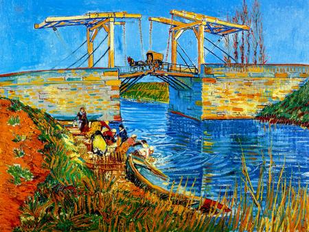 The Langlois Bridge at Arles with Women Washing 0