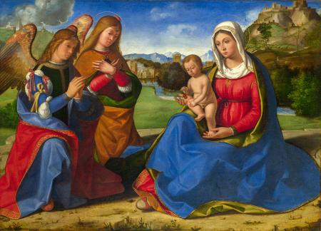 The Woman and Child adored by Two Angels resim