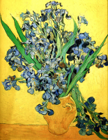 Vase with Irises Against a Yellow Background - UR-C-204