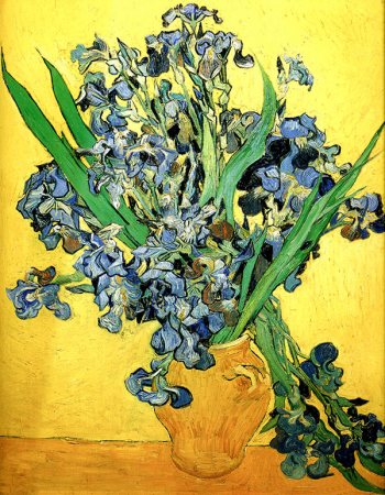 Vase with Irises Against a Yellow Background 0