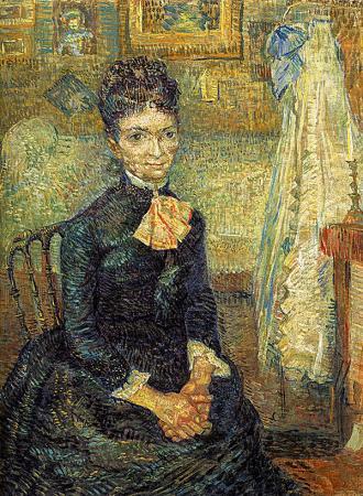 Woman Sitting By A Cradle resim