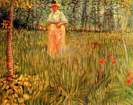Woman Walking In A Garden A resim