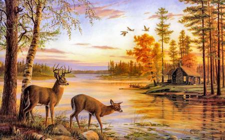 Göl Kenarındaki Geyikler resim