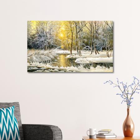 Karlı Orman ve Günbatımı resim2