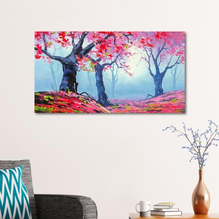 Pembe Soyut Ağaçlar resim2