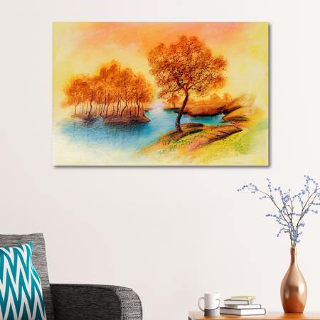 Sonbahar Ağaçları ve Mavi Göl resim2