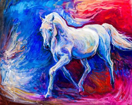 Soyut Beyaz At resim