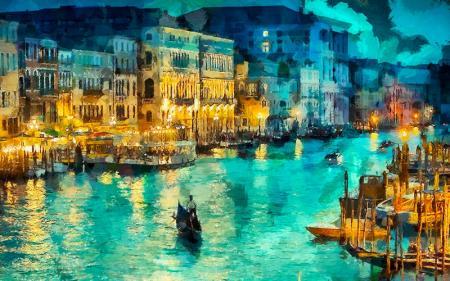 Venedik ve Gondollar resim