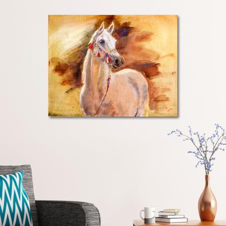 Yağlıboya Beyaz At resim2