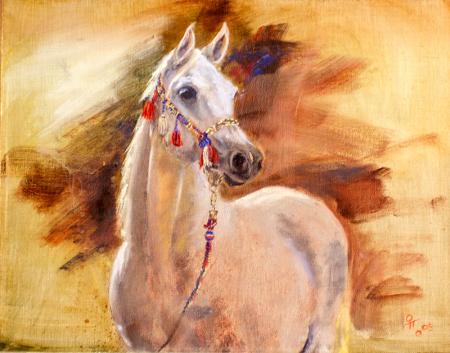 Yağlıboya Beyaz At 0
