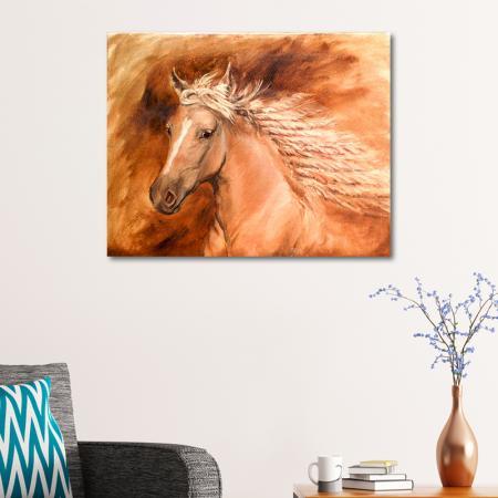 Yağlıboya Kahverengi At resim2