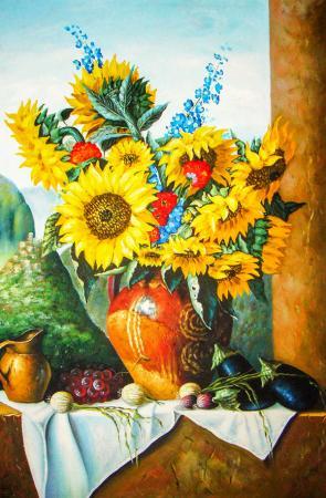 At Çiçeği ve Meyveler resim
