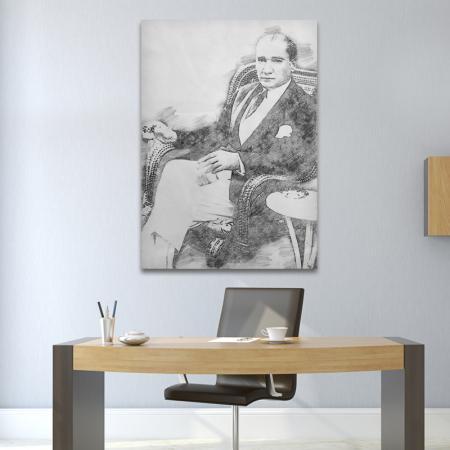 Atatürk Karakalem Tablo resim2