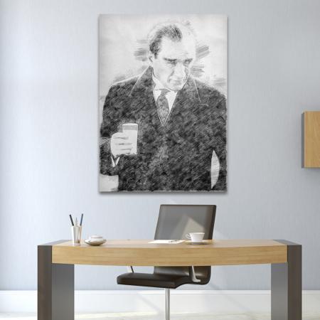 Atatürk Rakı İçerken Karakalem resim2