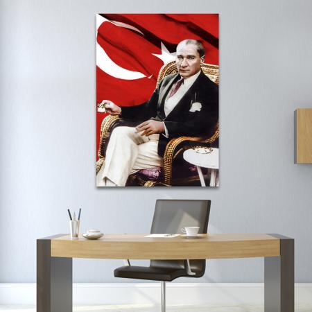Atatürk ve Türk Bayrağı Tablosu resim2