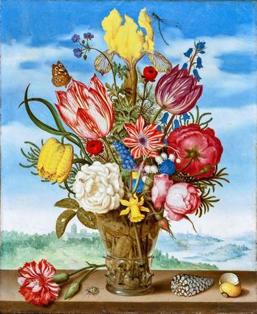 Bahar Çiçekleri ve Kelebek resim