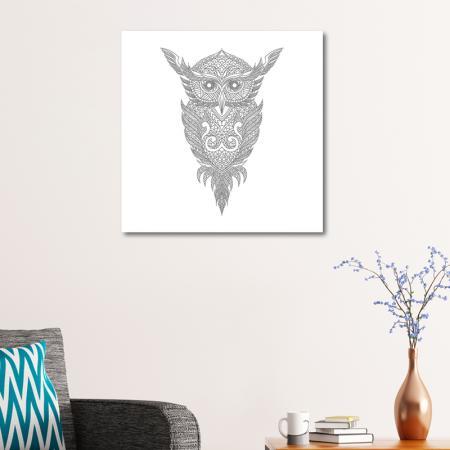Baykuş Desenli Mandala Tablosu resim2