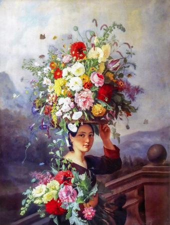 Çiçek Taşıyan Kız resim