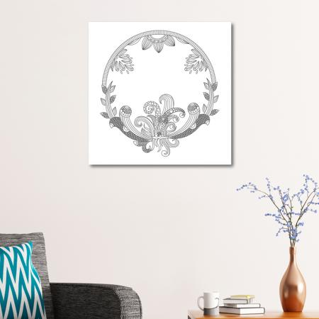 Dairesel Çiçek Desenli Mandala Tablosu resim2