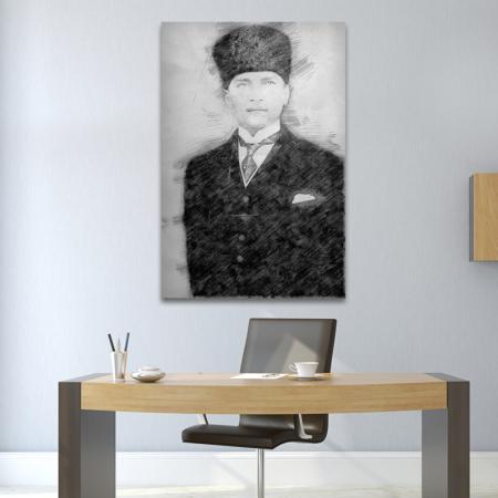 Karakalem Kalpaklı ve Kravatlı Atatürk Portresi resim2